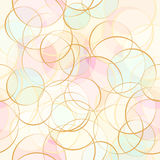 Vector seamless pattern pastel bokeh. Seamless vector pastel bokeh beige, blue, pink with light brown outline Royalty Free Illustration