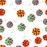 Vector seamless pattern. Pastry, cute cupcakes, lollipops. Stock Photo