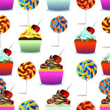 Vector seamless pattern. Pastry, cute cupcakes, lollipops. Stock Image