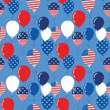 Vector seamless pattern with patriotic balloons. National colors of the United States. American flag,stars and stripes. Use for celebration of independence day Royalty Free Stock Photo