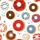 Vector seamless pattern with patriotic donuts. National colors of the United States. American flag,stars and stripes. Use for celebration of independence day Stock Images