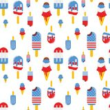 Vector seamless pattern with patriotic ice cream. National colors of the United States. American flag,stars and stripes. Use for celebration of independence Stock Photography