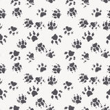Vector seamless pattern with paw footprints of a dog. (wolf). Cute hand drawn steps drawn with watercolors. Monochrome texture for consumer industry design Stock Images