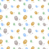 Vector seamless pattern with pc mouses. Royalty Free Stock Photography