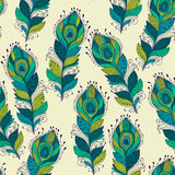 Vector seamless Pattern with peacock feathers Stock Image