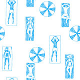Vector seamless pattern with people on beach. Hand drawn illustr Stock Photos
