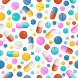 Vector seamless pattern of pills and other pharmaceutical ellements Royalty Free Stock Photo