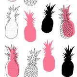 Vector seamless pattern of Pineapples. The cartoon style. Scandinavian style. Bright colors. Vector seamless pattern of Pineapples. The cartoon style vector illustration