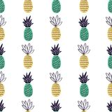 Vector seamless pattern with pineapples. Vector colorful seamless pattern with pineapples. Cute summer fruit background royalty free illustration