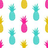 Vector seamless pattern with pineapples. Cute summer fruit background royalty free illustration