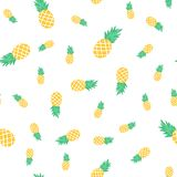 Vector seamless pattern with pineapples. Exotic background. Colorful cartoon summer illustration. Jungle print. Ideal for wrapping paper, textile, bedding royalty free illustration