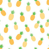 Vector seamless pattern with pineapples. For summer textile or fabric design on white. EPS 10 Stock Images