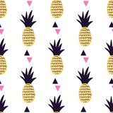 Vector seamless pattern with pineapples and triangles. Cute summ. Er fruit background royalty free illustration