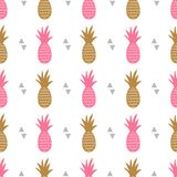 Vector seamless pattern with pineapples and triangles. Cute summer fruit background stock illustration