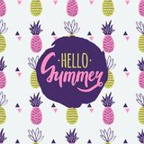 Vector seamless pattern with pineapples, triangles. And Hello Summer lettering. Cute summer fruit background royalty free illustration