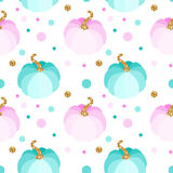 Vector seamless pattern with pink and blue pumpkins Royalty Free Stock Photos