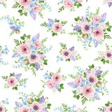 Seamless pattern with pink, blue and purple flowers. Vector illustration. Stock Photo