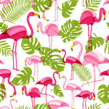 Vector seamless pattern with pink flamingo and green palm tree leaves. Summer tropical background. Stock Photography