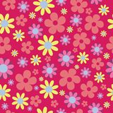 Vector Seamless Pattern Pink Hippie Floral royalty free illustration
