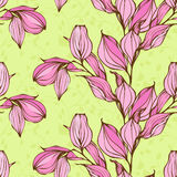 Vector seamless pattern with pink leaves on green background Stock Photo