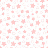 Vector seamless pattern of pink pentagonal stars Royalty Free Stock Photo