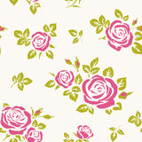 Vector seamless pattern with pink roses anf green leaves. Seamless floral background with roses Royalty Free Stock Photos