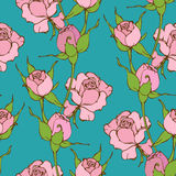 Vector seamless pattern with pink roses Royalty Free Stock Photo