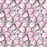 Vector seamless pattern with pink flowering Japanese cherry and thick gray royalty free illustration