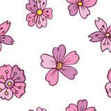 Vector seamless pattern with pink  sakura. Vector seamless pattern with pink watercolor sakura on white background Stock Photos