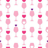 Vector seamless pattern with pink silhouette of wineglass and hearts on the white background. Design for wine and winery. Royalty Free Stock Photos