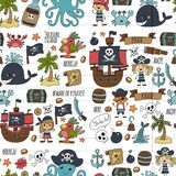 Vector seamless pattern Pirate party for children Kindergarten Kids children drawing style illustration Picutre with. Vector seamless Pirate party for children Stock Photography