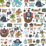 Vector seamless pattern Pirate party for children Kindergarten Kids children drawing style illustration Picutre with. Vector seamless Pirate party for children Stock Image