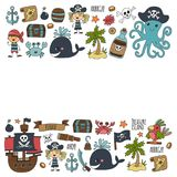 Vector seamless pattern Pirate party for children Kindergarten Kids. Vector seamless pattern Pirate party for children Kindergarten Kids children drawing style Stock Photos