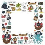 Vector seamless pattern Pirate party for children Kindergarten Kids. Children drawing style illustration Picutre with pirate, whale, treasure island, treasure Royalty Free Stock Photos