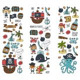 Vector seamless pattern Pirate party for children Kindergarten Kids. Vector seamless pattern Pirate party for children Kindergarten Kids children drawing style Royalty Free Stock Photo