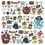 Vector seamless pattern Pirate party for children Kindergarten Kids. Vector seamless pattern Pirate party for children Kindergarten Kids children drawing style Royalty Free Stock Images
