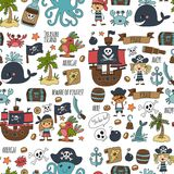 Vector seamless pattern Pirate party for children Kindergarten Kids. Vector seamless Pirate party for children Kindergarten Kids children drawing style Royalty Free Stock Photos