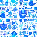 Vector seamless pattern Pirate party for children Kindergarten Kids. Vector seamless Pirate party for children Kindergarten Kids children drawing style Royalty Free Stock Photo