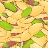 Vector seamless pattern pistacia nut. Vector card illustration. Closely spaced peeled pistachios nuts and in shell. it Stock Image