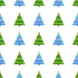 Vector seamless pattern of pixel art Christmas tree on white background. Background with green and blue Christmas tree. With pixel garland vector illustration
