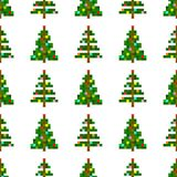 Vector seamless pattern of pixel art Christmas tree on white background. Christmas background vector illustration