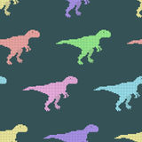 Vector seamless pattern with pixel dinosaurs Stock Photo