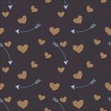 Vector seamless pattern of plane elements. Romance, love, wedding stock illustration