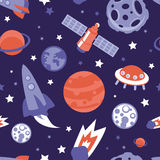 Vector seamless pattern with planets and stars. Vector seamless pattern with planets, ships and stars - background in vintage flat style Stock Photo