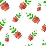 Vector seamless pattern with plants in funny pots royalty free illustration