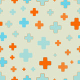 Vector seamless pattern of plus signs. Scattered and randomly sized colorful shapes. Solid fill of orange and blue color Stock Images