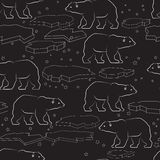 Vector seamless pattern with polar bear and ice. Vector seamless pattern with white outline polar bear and ice isolated on black background stock illustration