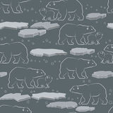 Vector seamless pattern with polar bear and ice. Vector seamless pattern with white outline polar bear and ice isolated on grey background vector illustration