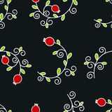 Vector seamless pattern with pomegranates. Floral pattern for cushion, pillow, bandanna, silk kerchief or shawl fabric print. Text Royalty Free Stock Photos