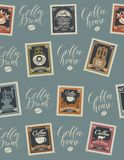 Vector seamless pattern with postage stamps and handwritten inscriptions on coffee and coffeehouse theme in retro style on beige vector illustration